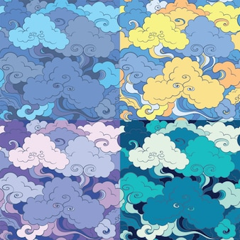 Traditional asian seamless patterns with clouds and sky. background