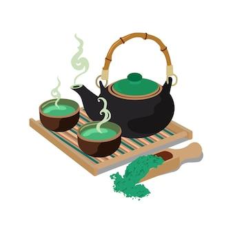 Традиционный азиатский чайник с паром, совком, деревянной сервировочной доской и двумя керамическими чашками. векторные цветные плоские иллюстрации шаржа, изолированные на белом. элемент дизайна для этикетки, меню, приглашения чайной церемонии.