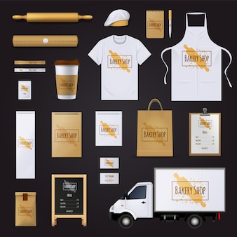 Traditional bakery shop corporate identity template