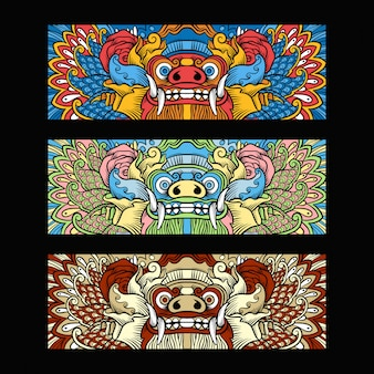 Traditional balinese barong illustration