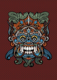 Traditional balinese mask of the terrible mythical defender, vector outline illustration