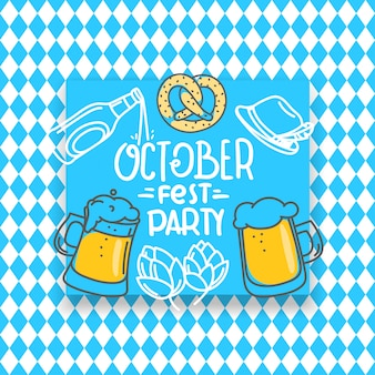 Traditional bavarian holiday banner, october fest party