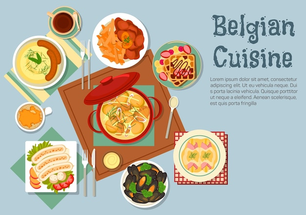 Traditional belgian cuisine with ceramic pot of chicken stew, surrounded by gratin of endives topped with fruits