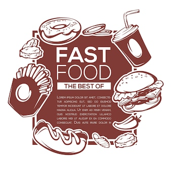 Traditional best of american fastfood ingredients template