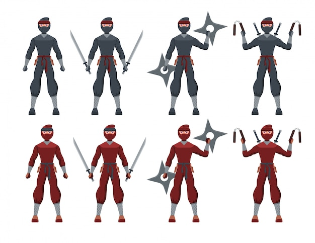 Traditional black & red suit ninja