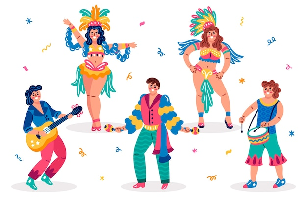 Traditional brazilian dancers and clothes
