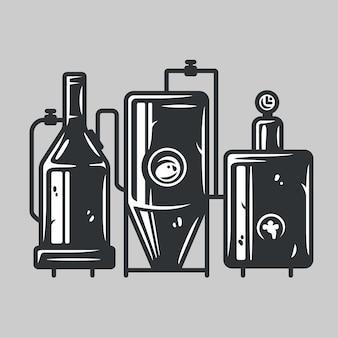 伝統的な醸造プロセス、生産クラフトビール、醸造所工場