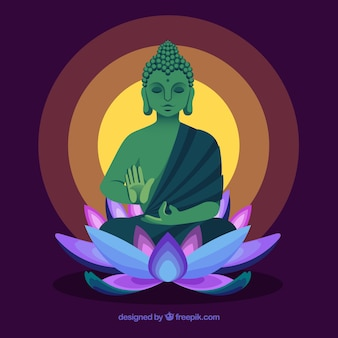 Traditional budha with flat design