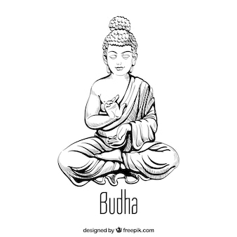 Traditional budha with hand drawn style