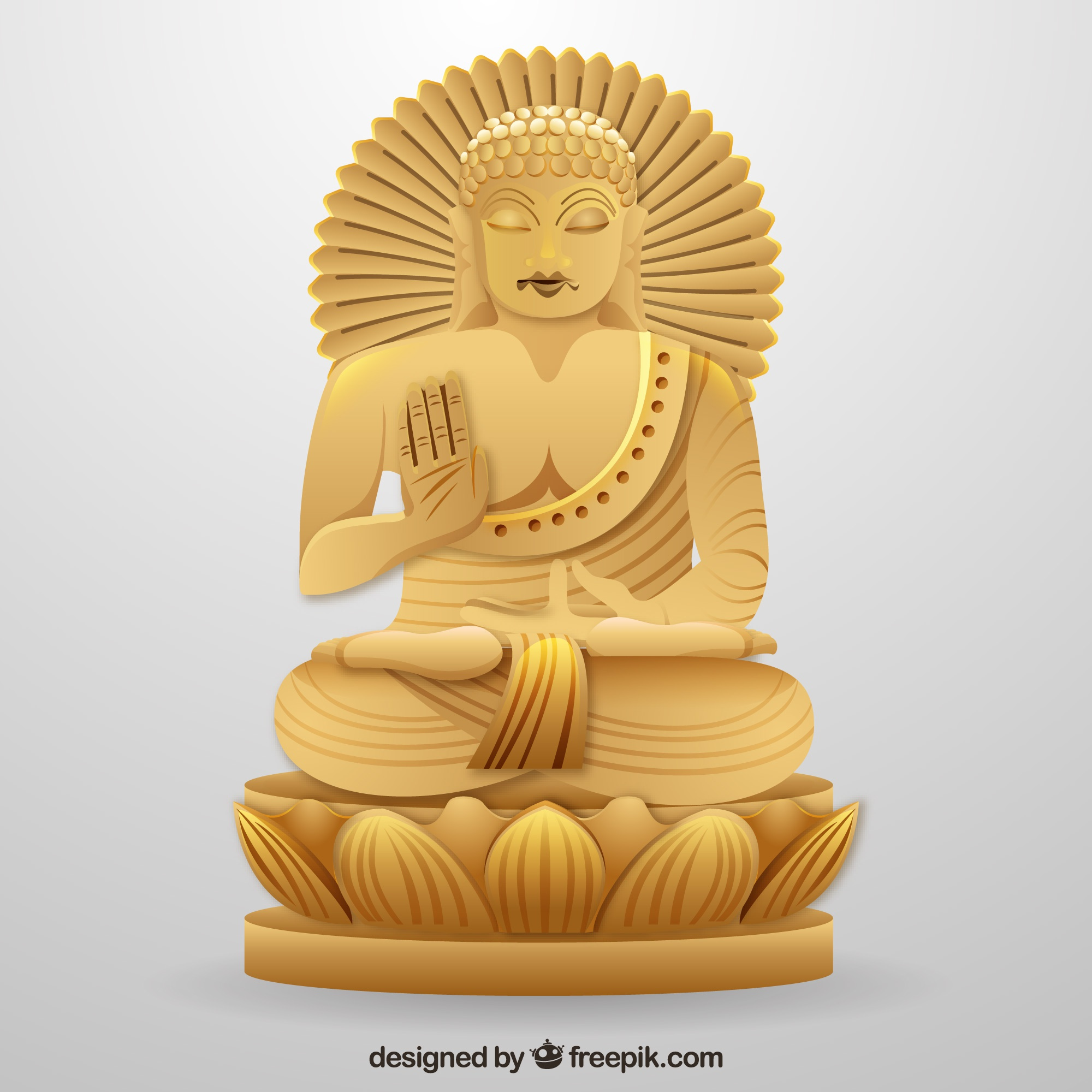 Traditional budha with realistic style