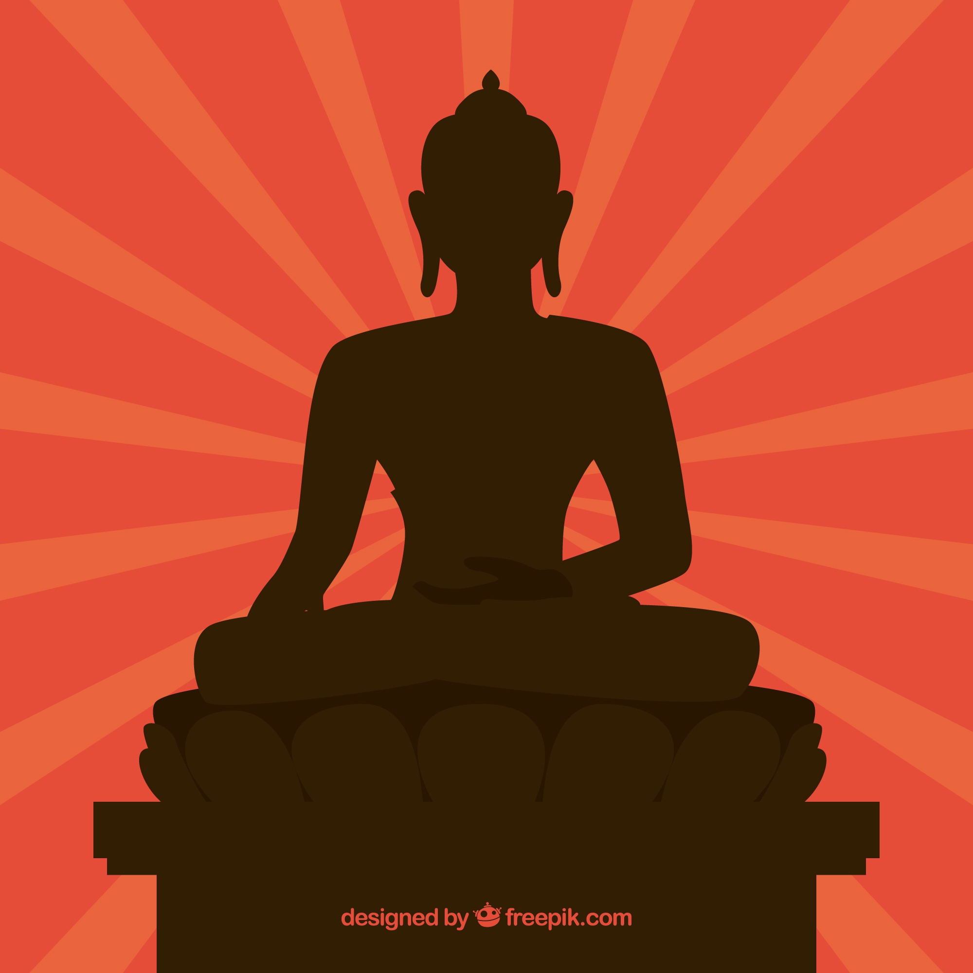 Traditional budha with silhouette design