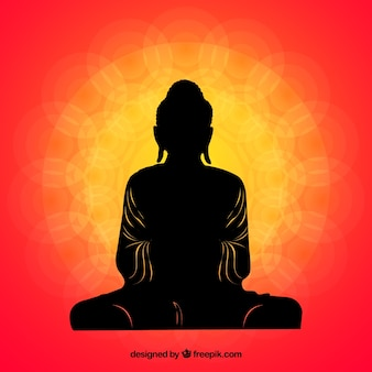 Traditional budha with silhouette style