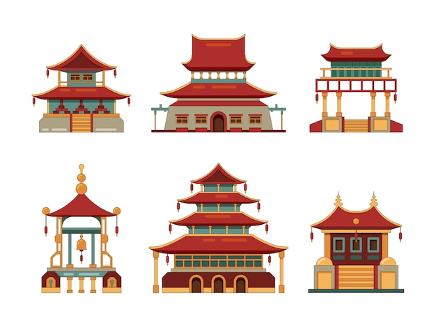 Traditional buildings. japan and china cultural objects architecture pagoda gate palace heritage collection