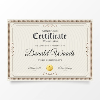Traditional certificate with classic frame