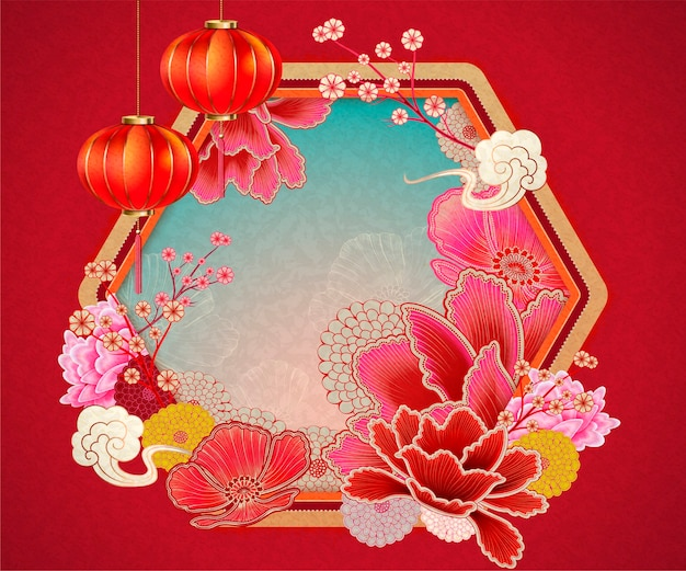 Traditional chinese background with peony and lanterns elements in red tone