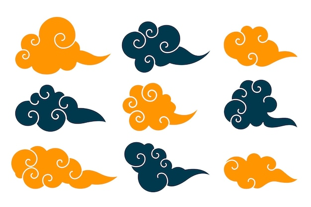 Traditional chinese clouds set of nine