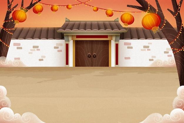 白いレンガの壁と吊り提灯と伝統的な中国の田舎の建築イラスト
