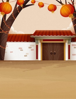 Traditional chinese countryside architecture illustration with white brick wall and hanging lanterns
