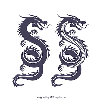 Traditional chinese dragon silhouette collection