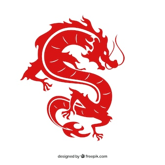 Traditional chinese dragon with silhouette design