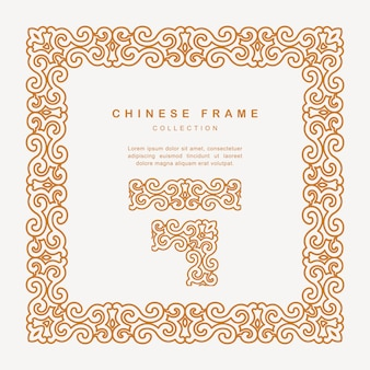 Traditional chinese golden frame with floral elements