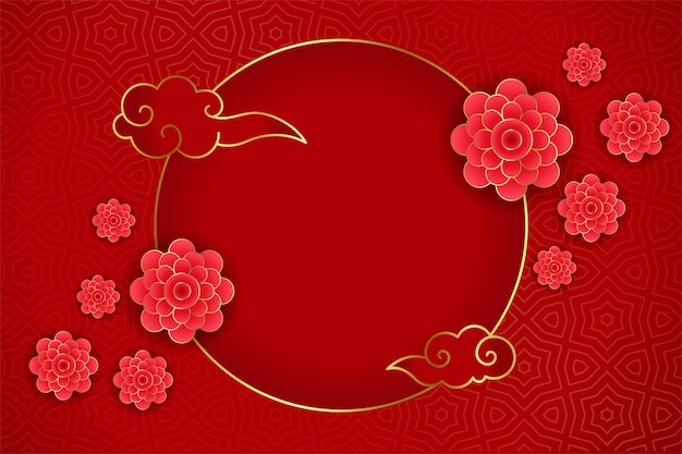 Traditional chinese greeting with flower on red