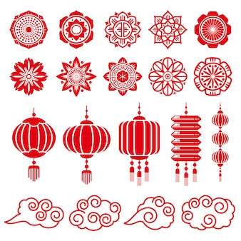 Traditional chinese and japanese decorative   elements