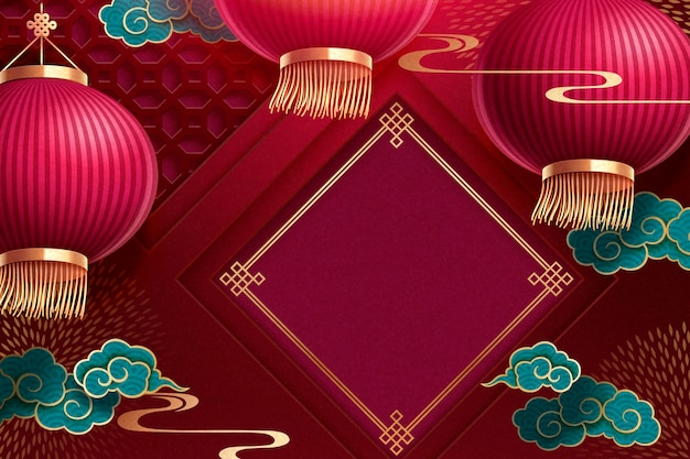 Traditional chinese lunar new year background with blank spring couplet and red paper lanterns on burgundy red