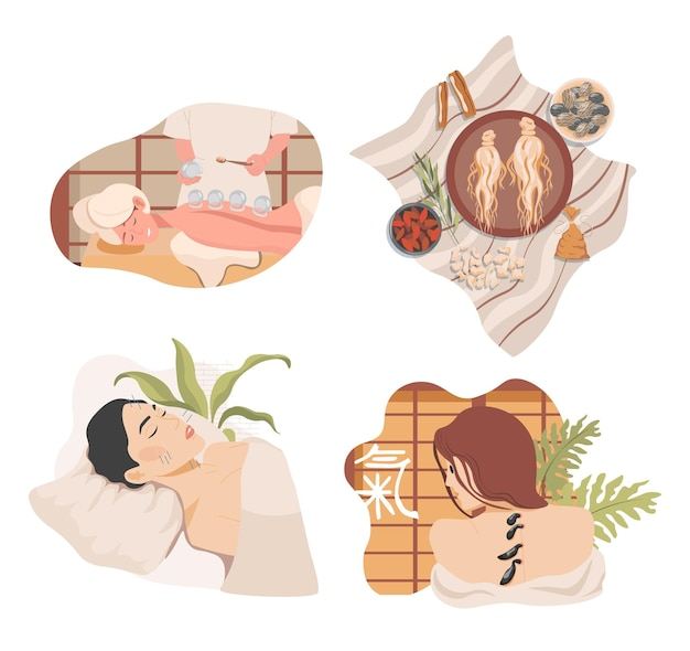 Traditional chinese or oriental alternative medicine vector flat illustration ginseng