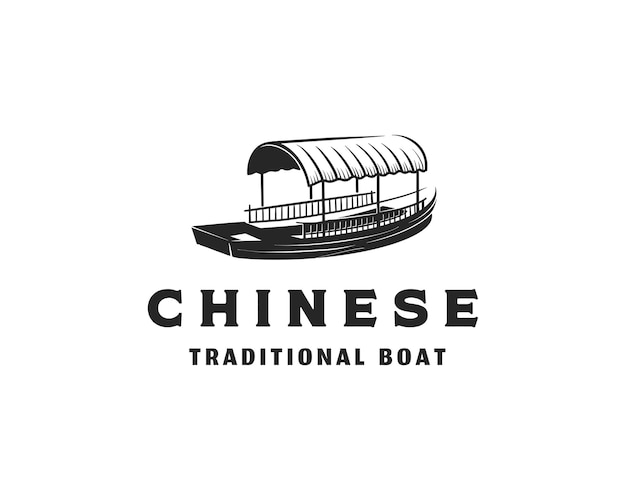 Traditional chinese passenger boat ship silhouette on the river logo design