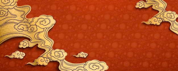 Traditional chinese red background in paper art style with golden clouds element