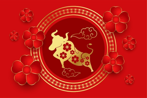 Traditional chinese red with flower and clouds
