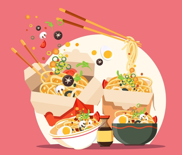 국수와 함께 전통적인 중국 수프, 일본라면