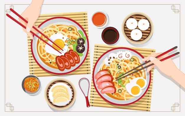 麺と伝統的な中国のスープ、チャイニーズボウルアジア料理のヌードルスープイラスト