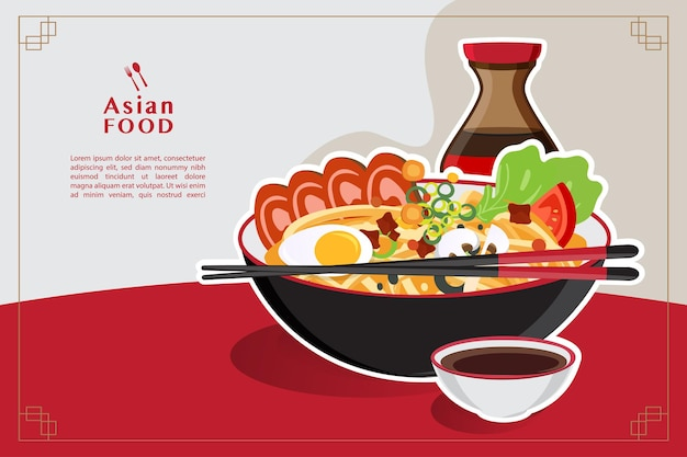Традиционный китайский суп с лапшой, суп с лапшой в китайской миске, иллюстрация азиатской кухни