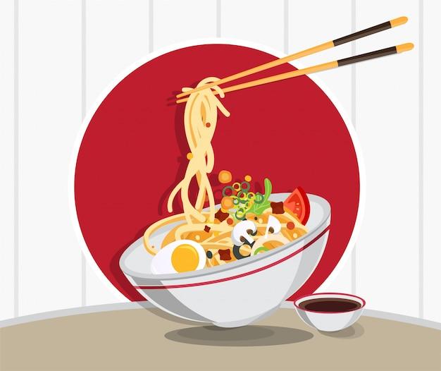 Традиционный китайский суп с лапшой, суп с лапшой в китайской миске азиатской кухни