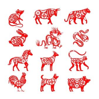 伝統的な中国の干支のイラスト。ペーパーカットのベクトル中国星占い動物のシンボル、雄牛とマウス、豚とドラゴンのベクトル