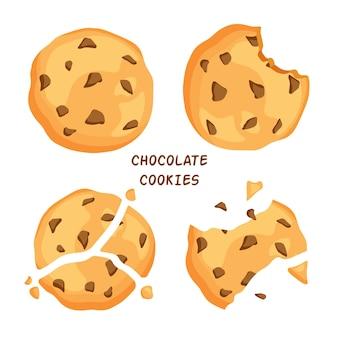 パン粉が噛まれた伝統的なチップクッキーとチョコレートが入った壊れたクッキー