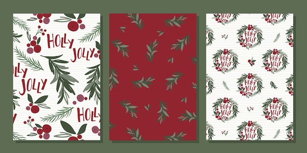 Traditional christmas card sets with wreath and christmas lives pattern