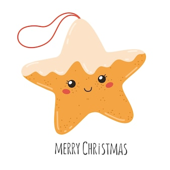Traditional christmas cookies pastries merry christmas vector illustration star