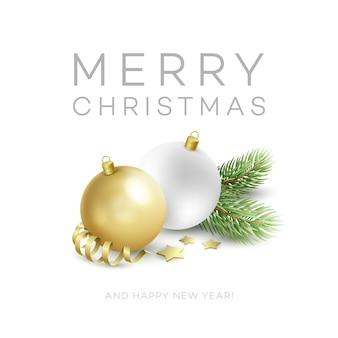 전통적인 크리스마스 장식 요소. 현대 카드 또는 포스터 디자인