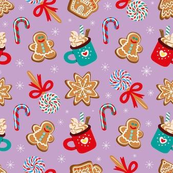 전통적인 크리스마스 디저트 원활한 패턴