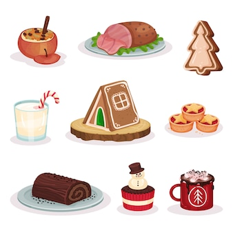 Traditional christmas food and desserts set, baked stuffed apple, grilled ham, gingerbread cookies, chocolate roll cake, cacao with marshmallow  illustration