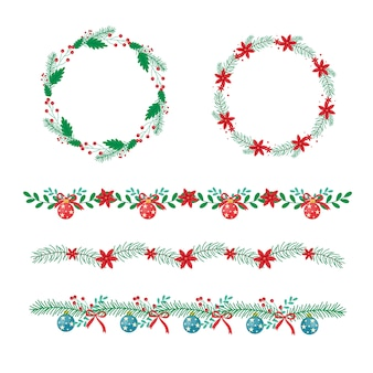 Traditional christmas frames and borders in flat design