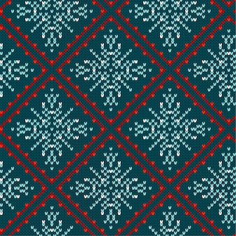 Traditional christmas knitted ornamental pattern with snowflakes. christmas knitting seamless pattern