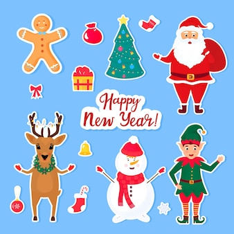 Traditional christmas and new year's cartoon characters and objects for creating invitations, cards, posters for celebration. set of stickers