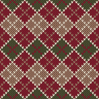 Traditional christmas sweater design. seamless argyle knitted pattern