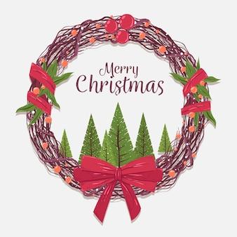 전통적인 크리스마스 화 환 배경