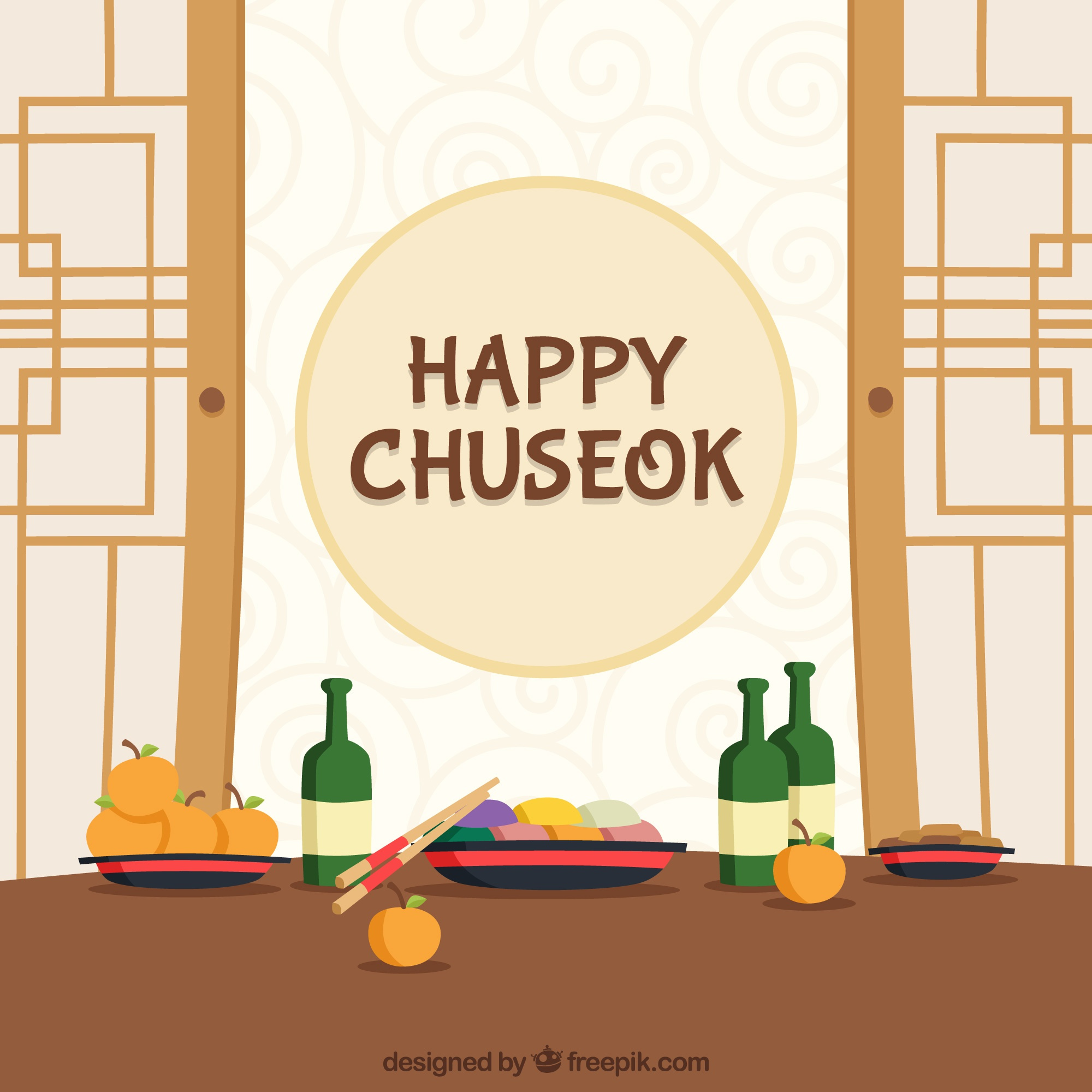 Traditional chuseok background in flat style