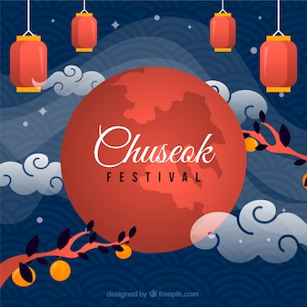 Traditional chuseok composition with flat design